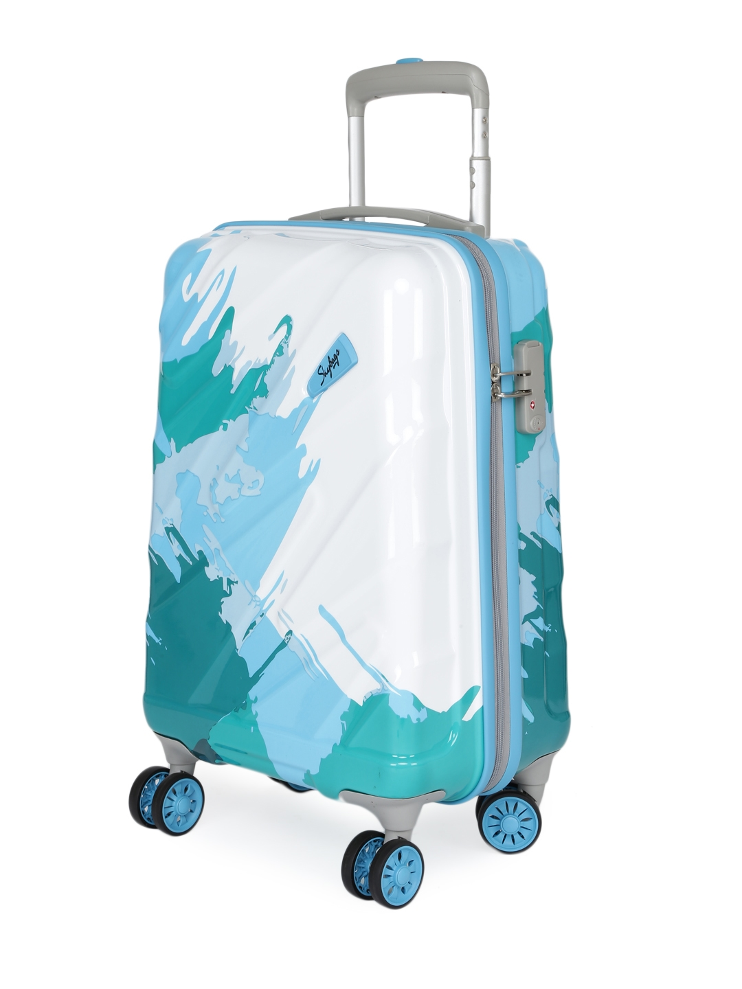 a9be50ad28be Buy Skybags Unisex White   Blue MIRAGE STROLLY 55 360 Cabin Trolley ...