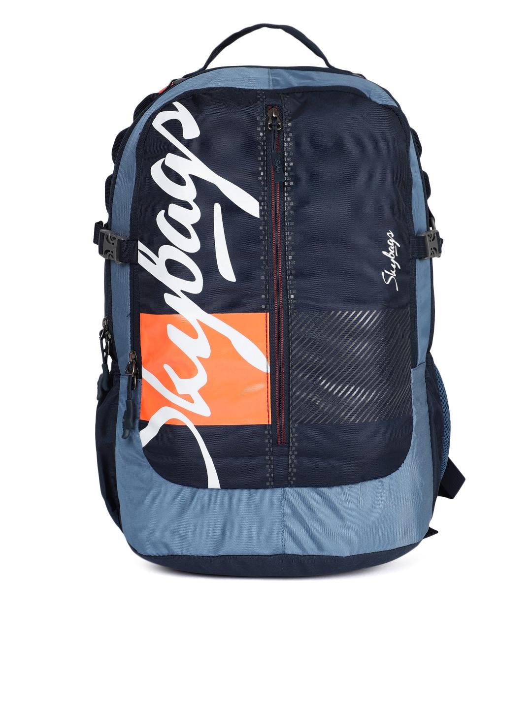 30ed30b285d7 Buy Skybags Unisex Blue   Orange Brand Logo Backpack - Backpacks for ...