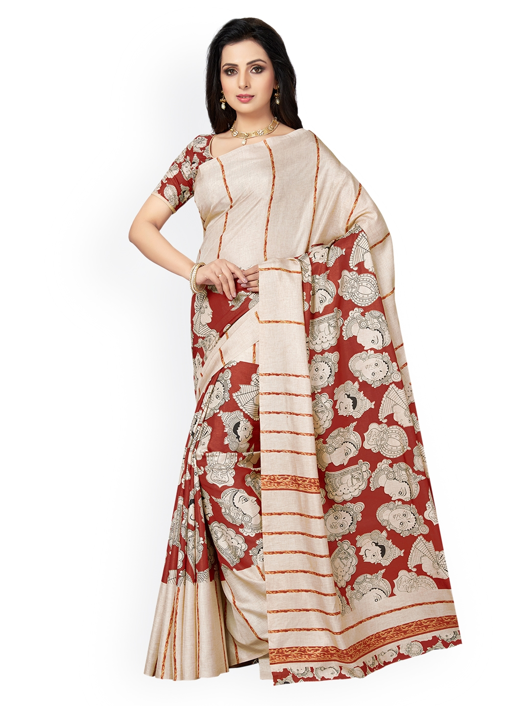 17c1b88e346bc Buy Ishin Beige   Red Poly Silk Printed Saree - Sarees for Women ...