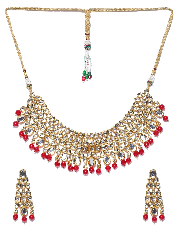 ea3fa700d8c9e Melani Borsa Red 18K Gold-Plated Kundan-Studded Handcrafted Jewellery Set