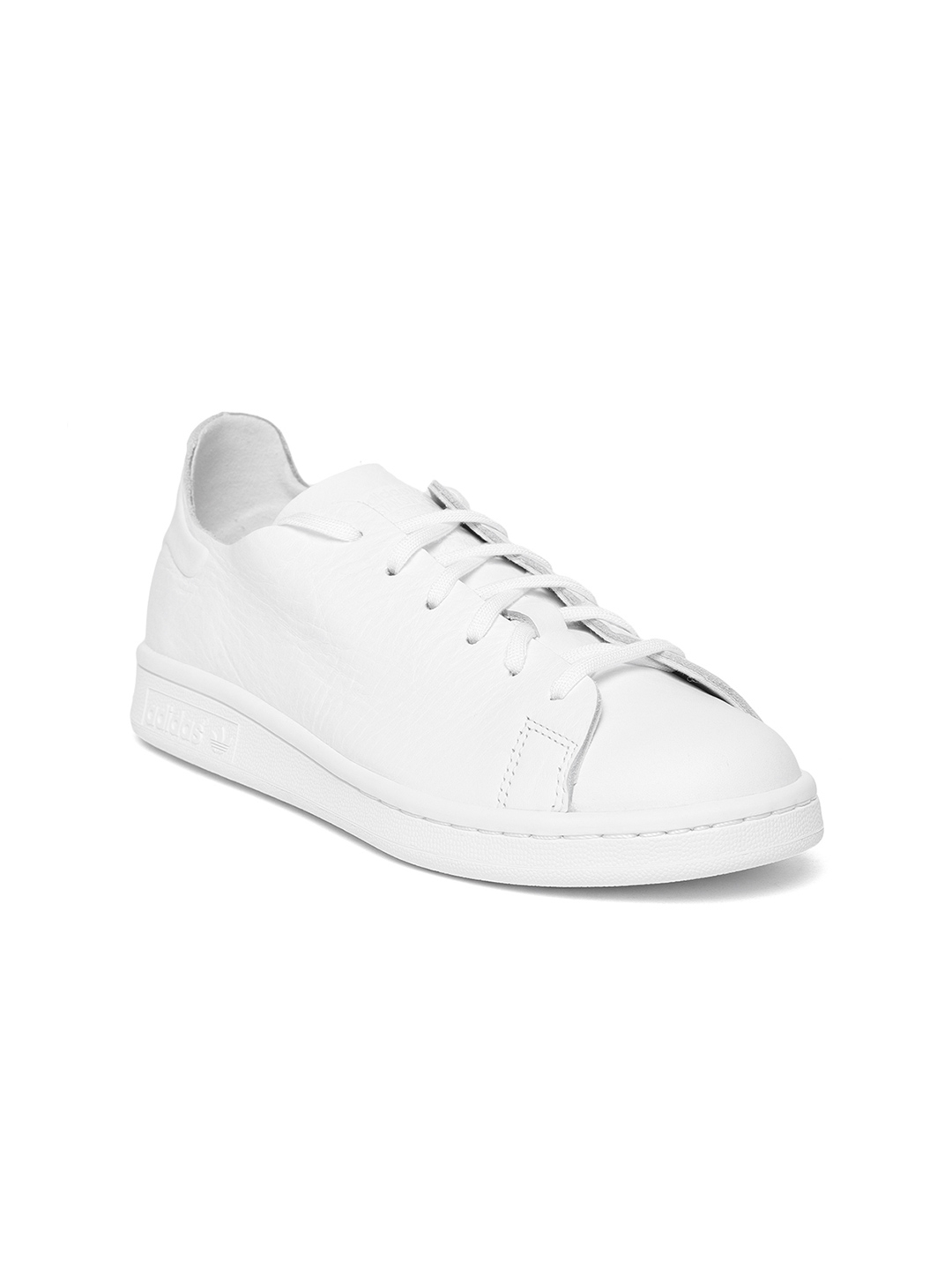 wholesale dealer 384ce b80bc ADIDAS Originals Women White Stan Smith NUUD Leather Sneakers