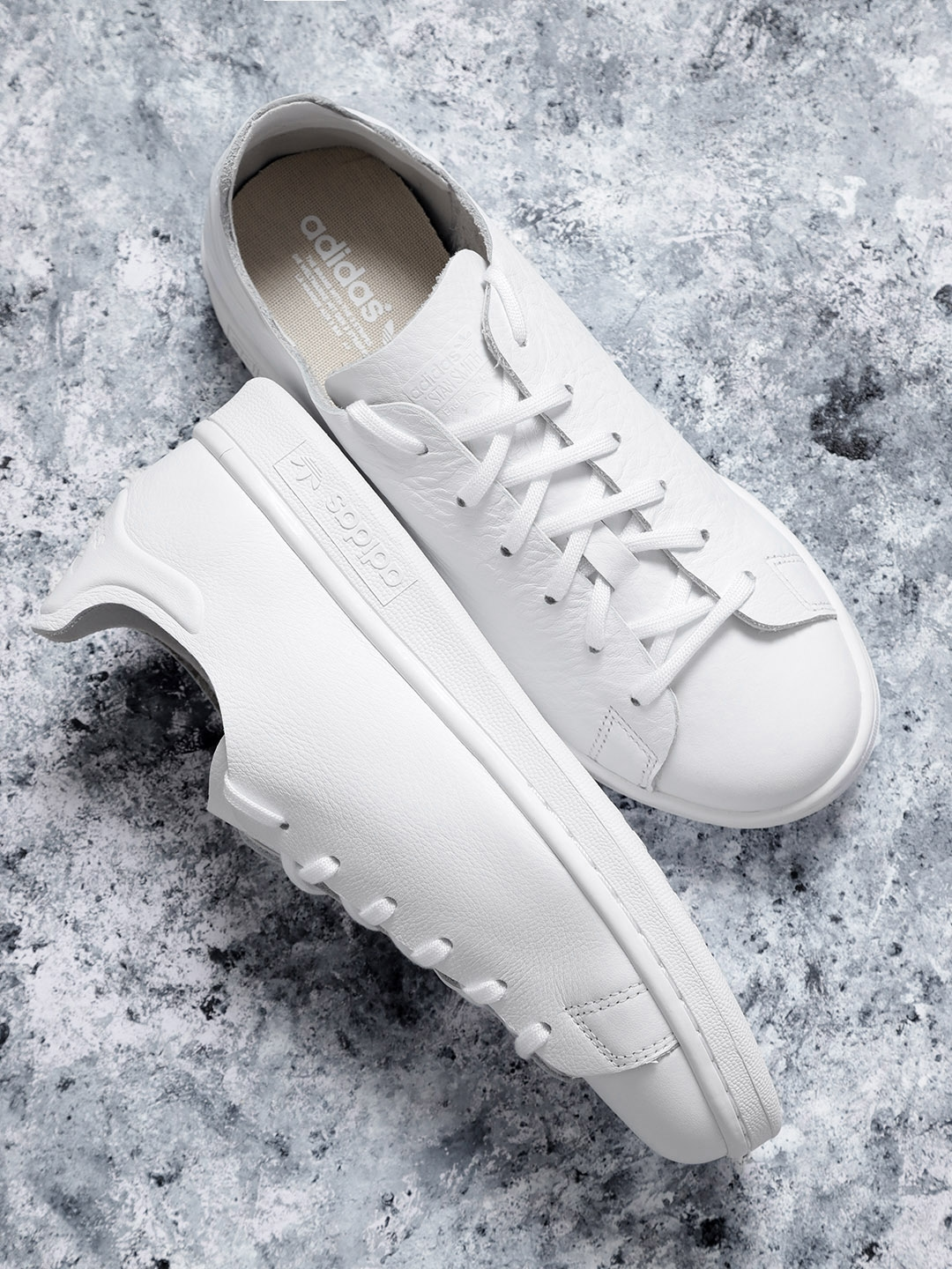 wholesale dealer ca80b a4fad ADIDAS Originals Women White Stan Smith NUUD Leather Sneakers