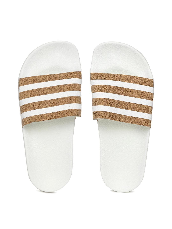 4f609314743c Buy ADIDAS Originals Women Beige   White Adilette Striped Sliders ...