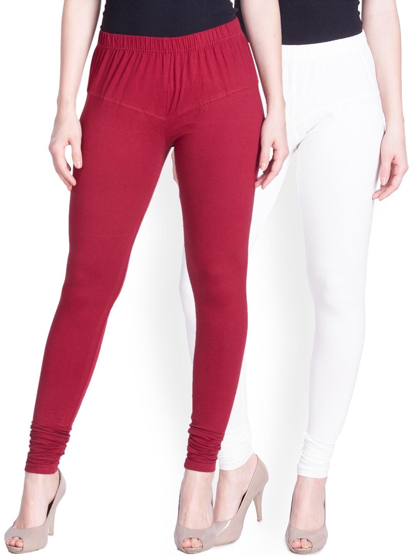 Lux Lyra Women Pack of 2 White   Maroon Churidar Leggings