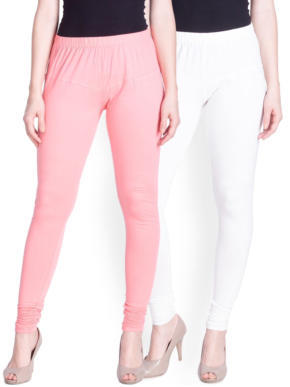 Lux Lyra Women Pack of 2 White   Pink Churidar Leggings
