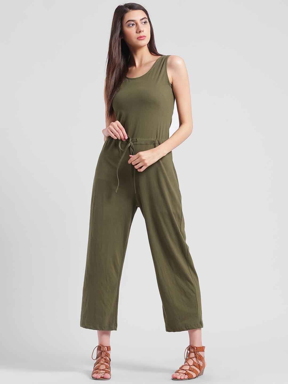 b5ccd17981d Buy Rigo Olive Green Solid Basic Jumpsuit - Jumpsuit for Women ...