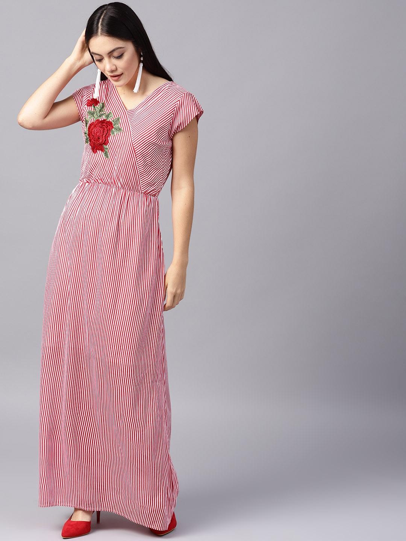 b9e072e2477 Buy Athena Women Red   White Striped Maxi Dress - Dresses for Women ...