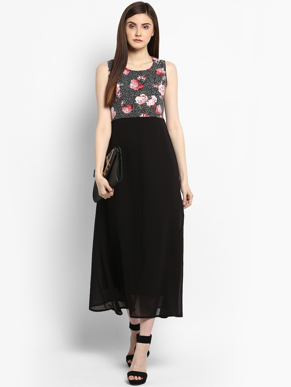 e7fff6534dd2a5 Buy StyleStone Women Black Printed Maxi Dress - Dresses for Women ...