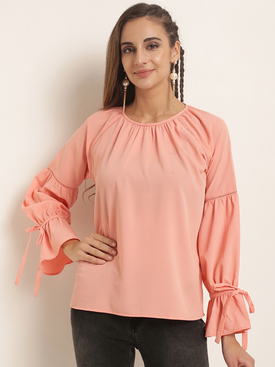 RARE Women Pink Solid Top
