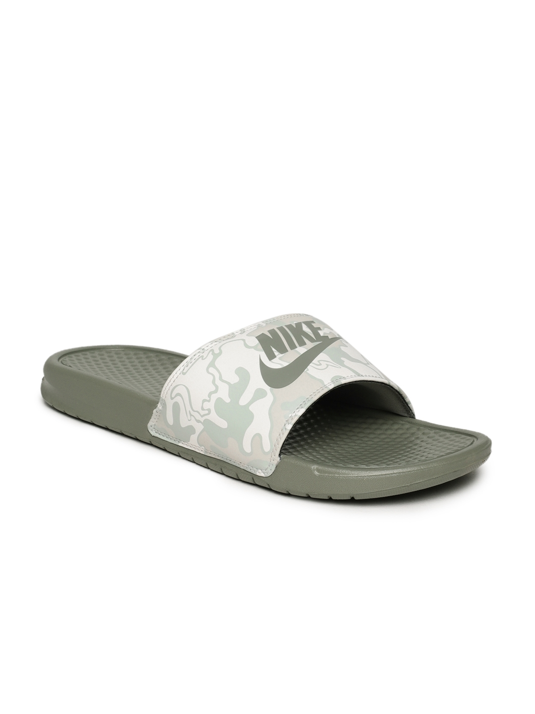 4a88653efc05 Buy Nike Men Olive Green Printed Sliders - Flip Flops for Men ...