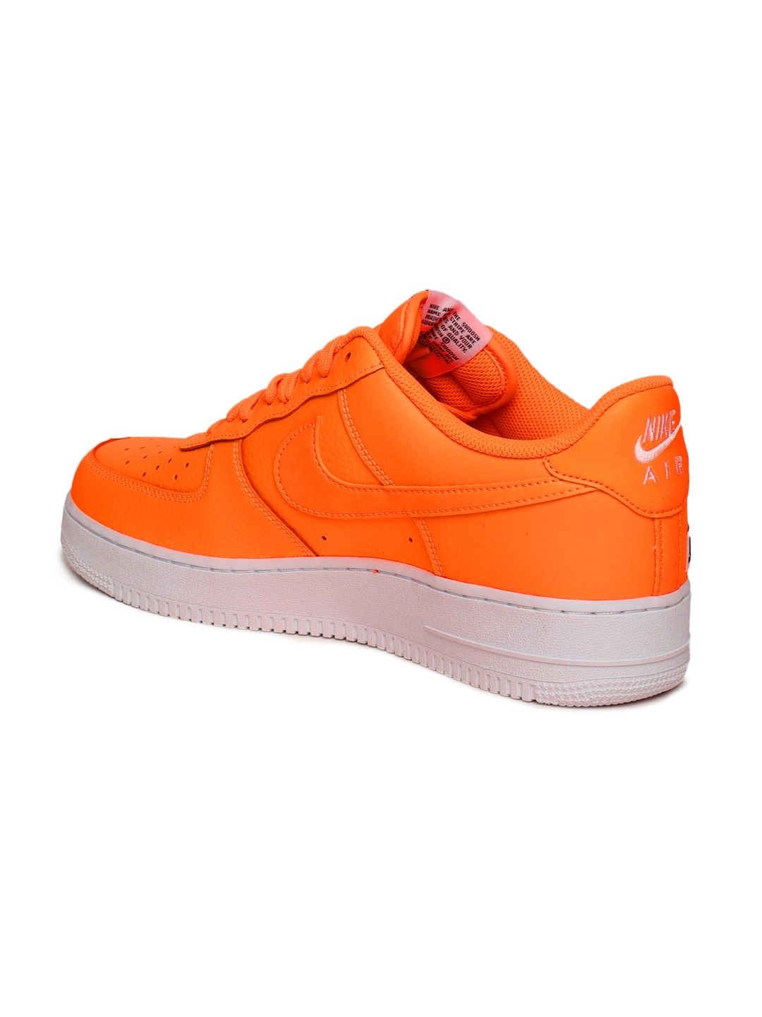 new product 74db8 fef63 Nike Men Orange Air Force 1  07 LV8 JDI Leather Sneakers