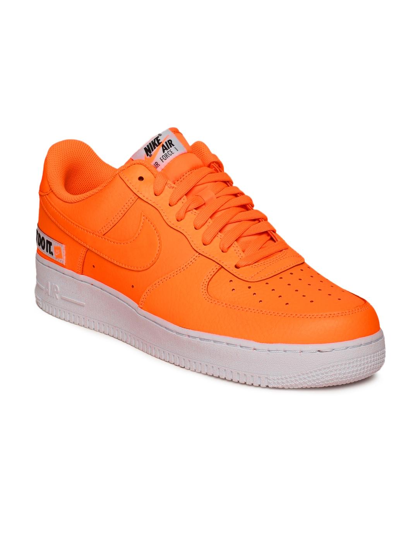 new product ada40 63d9d Nike Men Orange Air Force 1  07 LV8 JDI Leather Sneakers