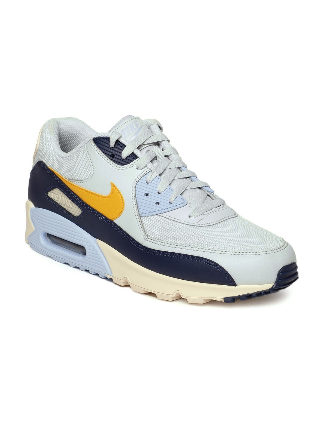 size 40 bcbab 61ec5 Nike Men Grey  Yellow Air Max 90 Essential Casual Shoes