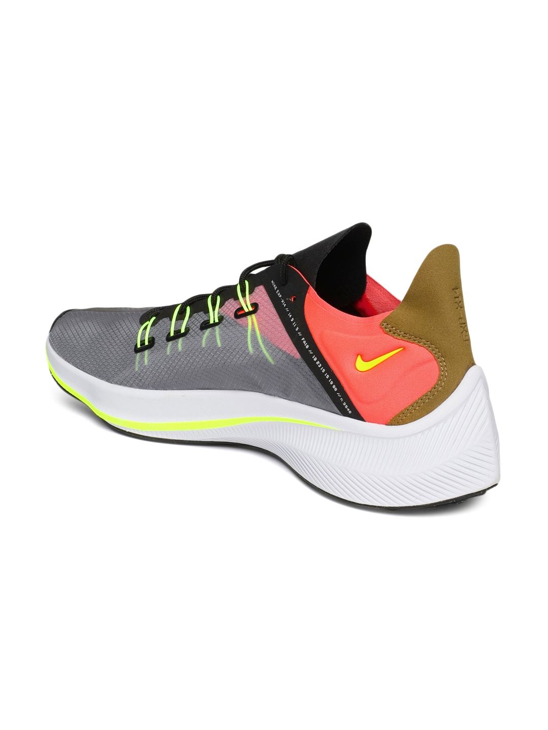 new style 8401f 782d5 Nike Men Grey   Fluorescent Orange Printed EXP-X14 Running Shoes