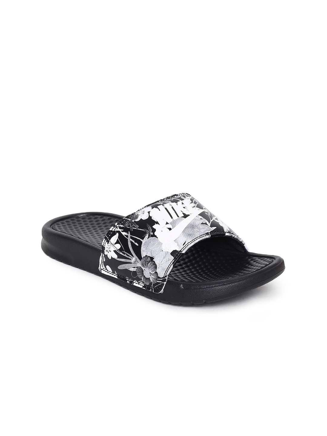 51663e13d48e Buy Nike Women Black   White Printed Sliders WMNS BENASSI JDI PRINT ...