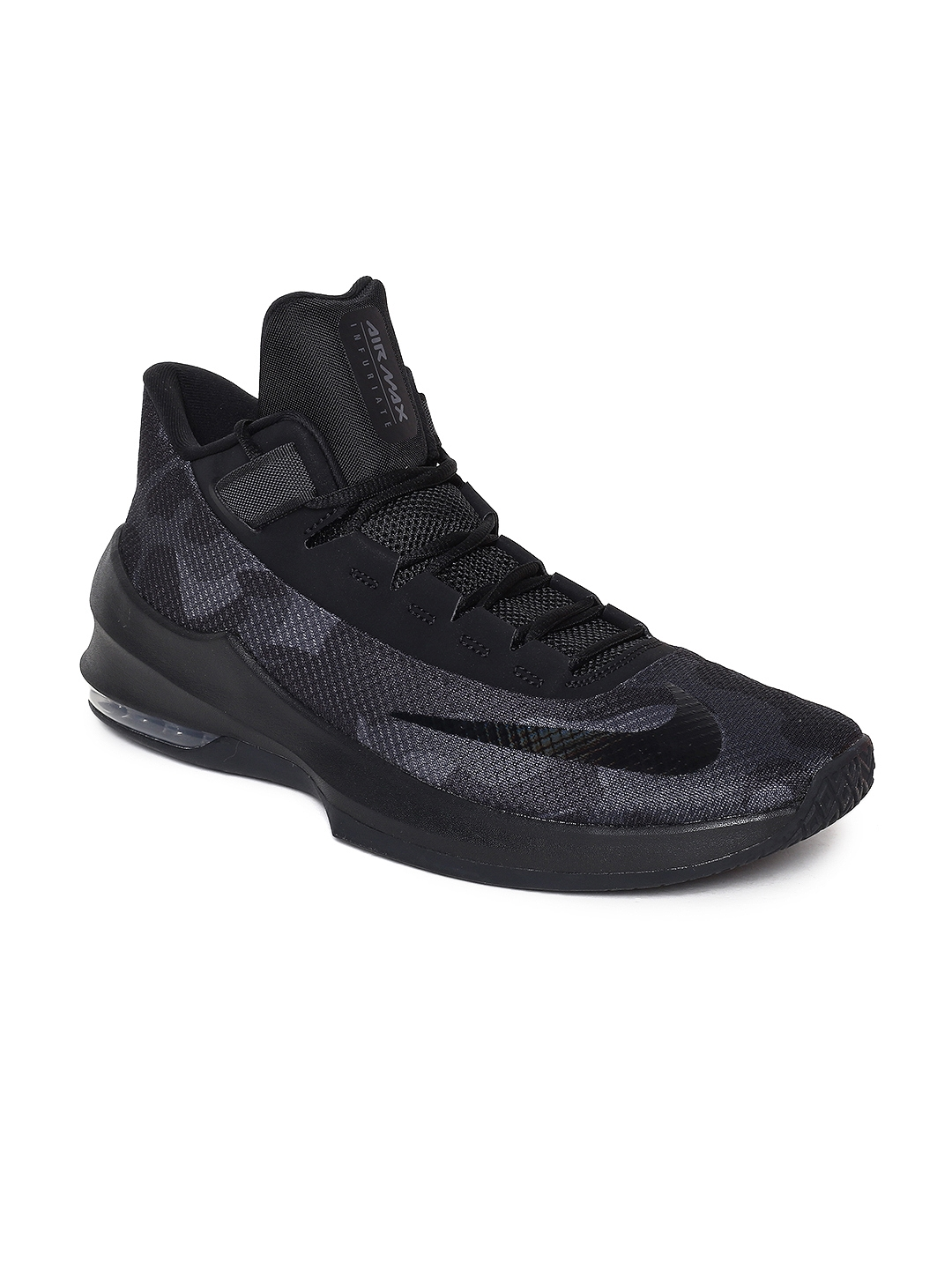 huge discount 7803e 3555a Nike Men Black Textile High-Top AIR MAX INFURIATE 2 Basketball Shoes