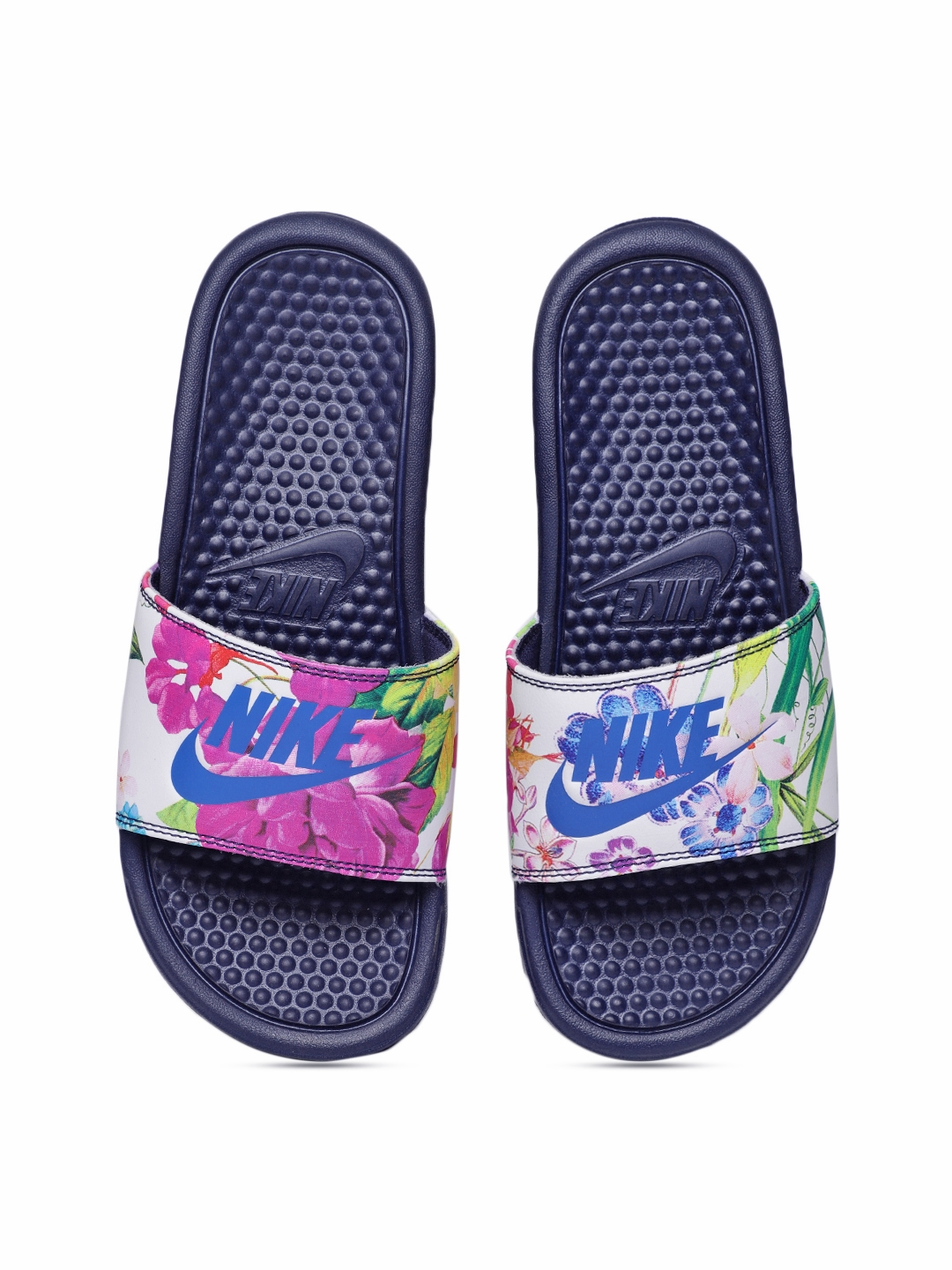 890fadaaeac9f1 Buy Nike Women White   Pink Printed Sliders - Flip Flops for Women ...
