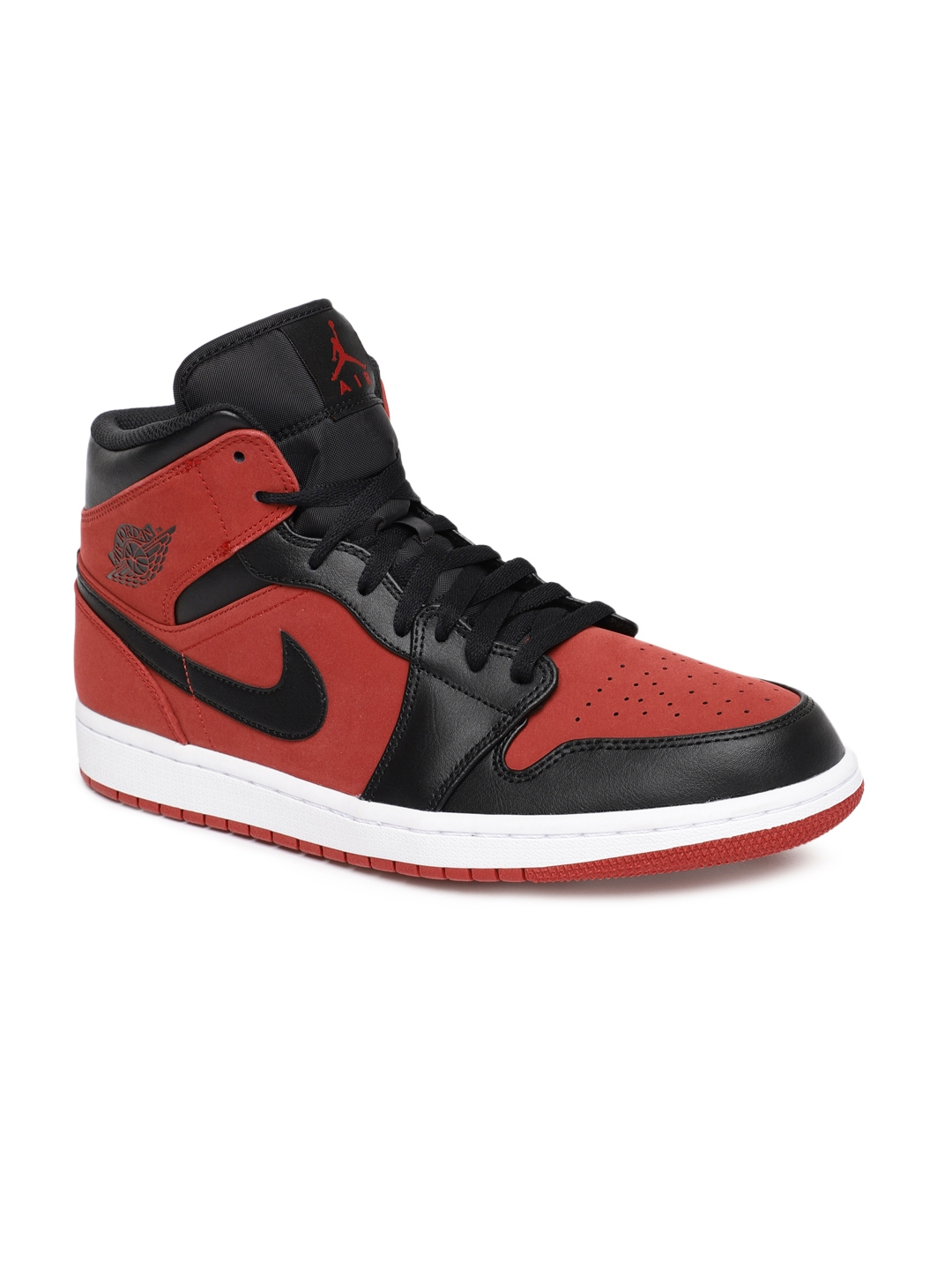 new style 9a050 e4fe8 Nike Men Red   Black High-Top AIR JORDAN 1 Sneakers