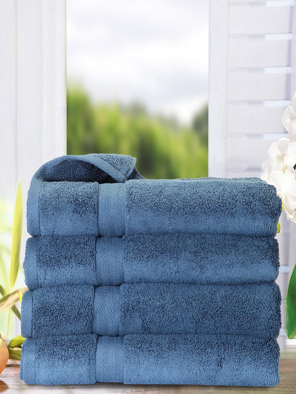 Buy Bianca Set Of 4 Navy Blue 500 Gsm Cotton Bath Towels Towel Set For Unisex 6684092 Myntra