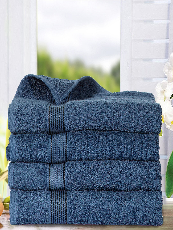 Buy Bianca Set Of 4 Navy Blue 380 Gsm Cotton Bath Towels Towel Set For Unisex 6684100 Myntra