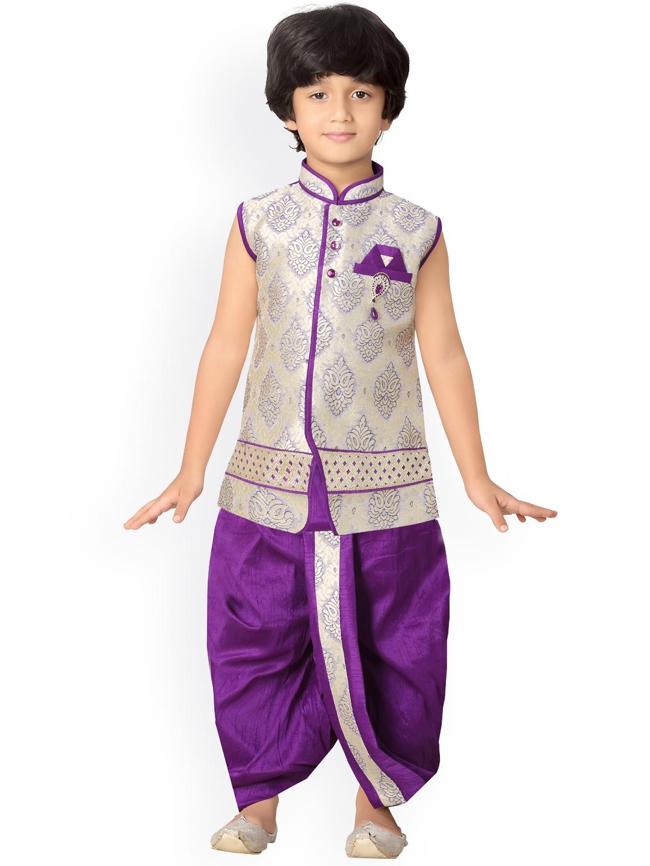 e54dd4e5491 Buy Jeetethnics Boys Purple   Beige Self Design Kurta With Dhoti ...