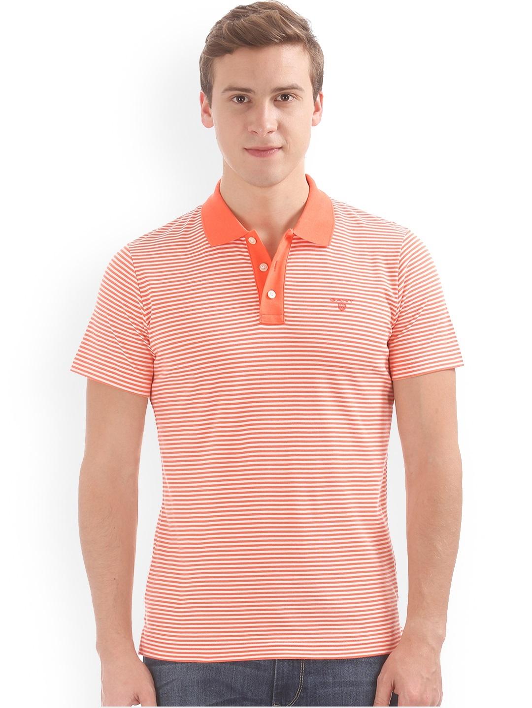 billigt till salu online-återförsäljare första kurs Buy GANT Men Orange & White Striped Polo Collar T Shirt - Tshirts for Men  6686423 | Myntra