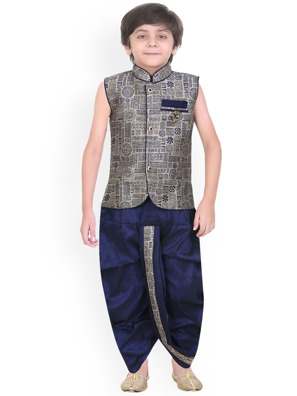 e084923e6f5 Jeetethnics Boys Navy Blue   Gold-Toned Self Design Kurta with Dhoti Pants