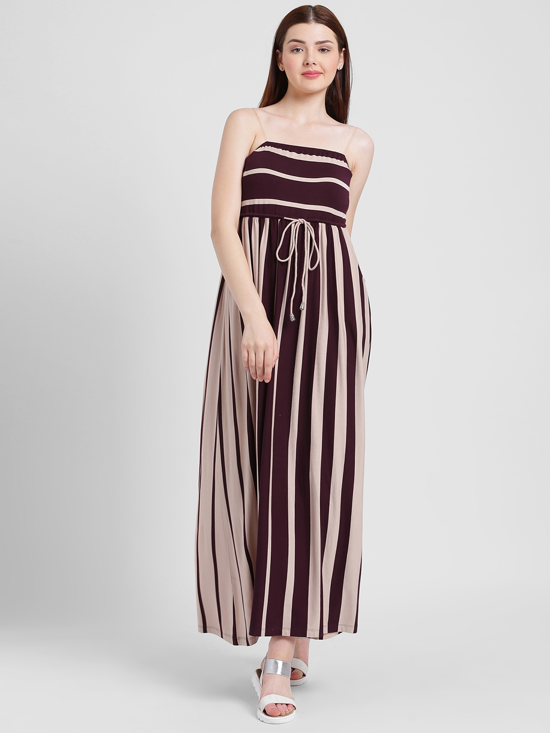 6049afdfec66 Buy Texco Women Purple   Beige Striped Maxi Dress - Dresses for ...