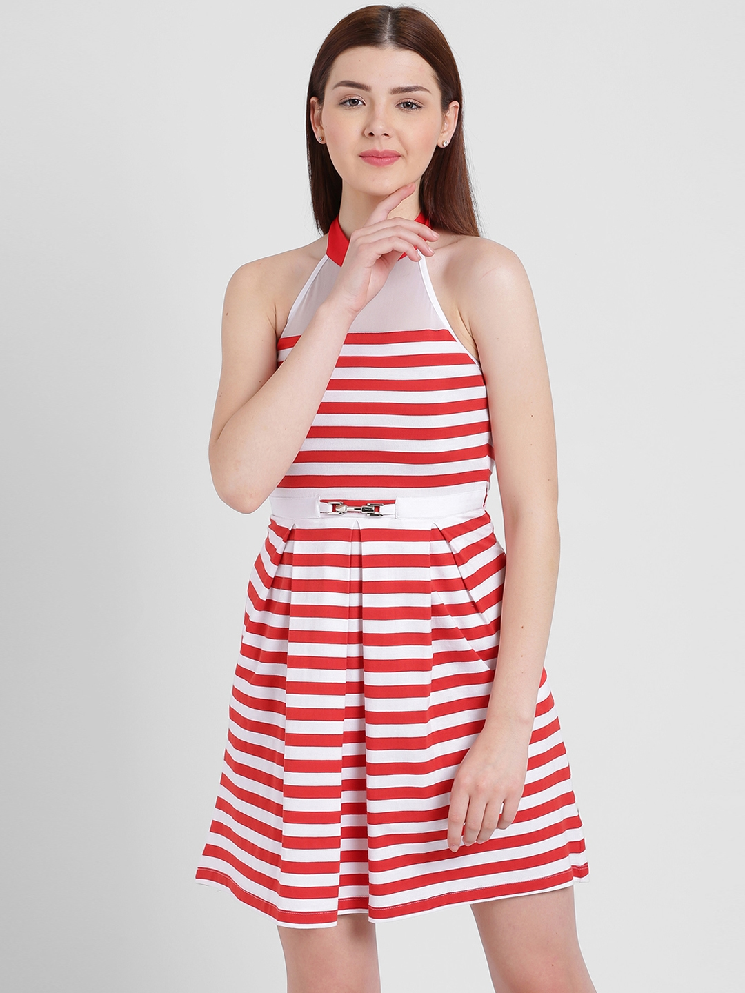 05ecda47ff Buy Texco Women Red   White Striped Fit And Flare Dress - Dresses ...