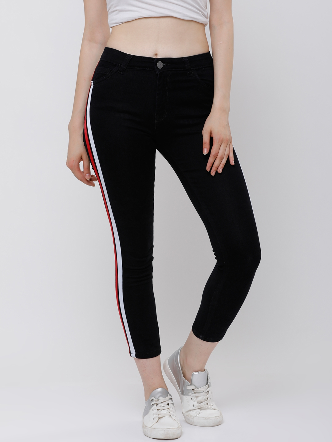 b6dfb38d Tokyo Talkies Women Black Super Skinny Fit Mid-Rise Side Stripes Cropped  Jeans
