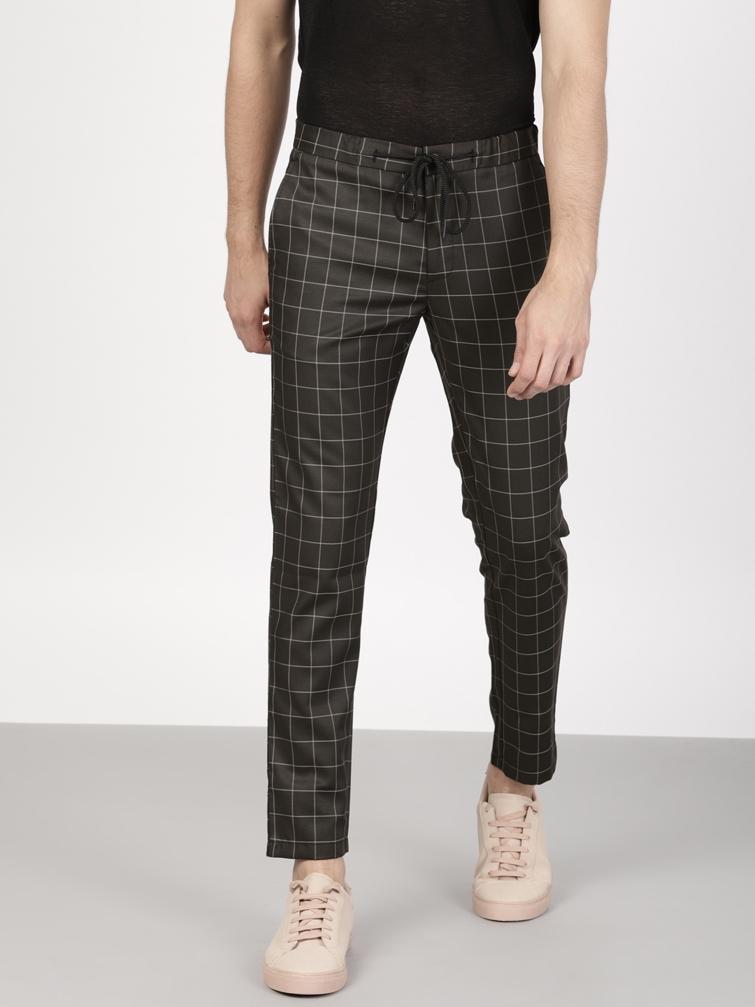 2ac84874eac Buy Ether Men Black Slim Fit Checked Cropped Trousers - Trousers for ...