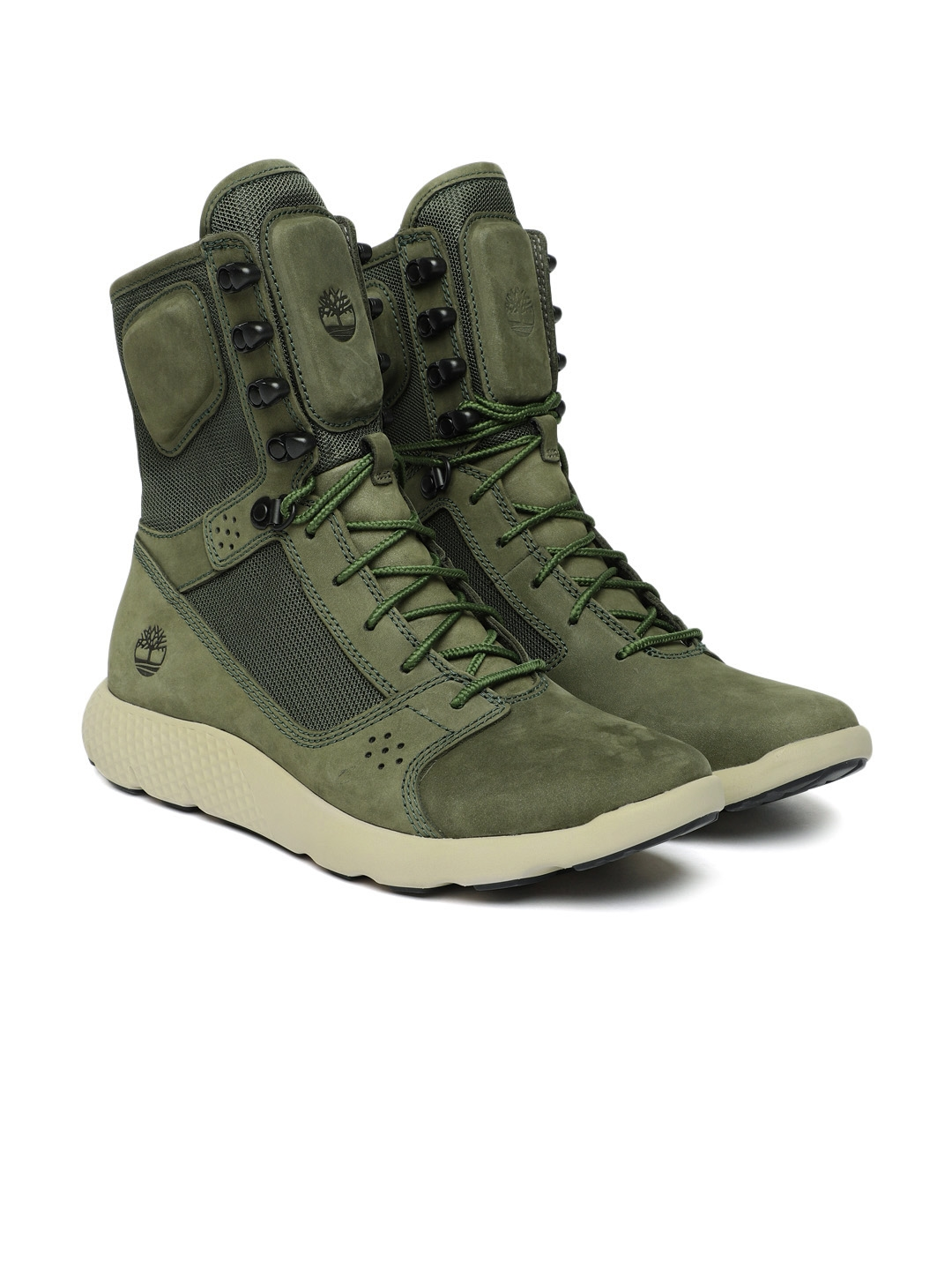 31c9c3ab3a32 Timberland Men Olive Green Solid Leather High-Top FLYROAM TACTICAL BT DKGRN  Flat Boots