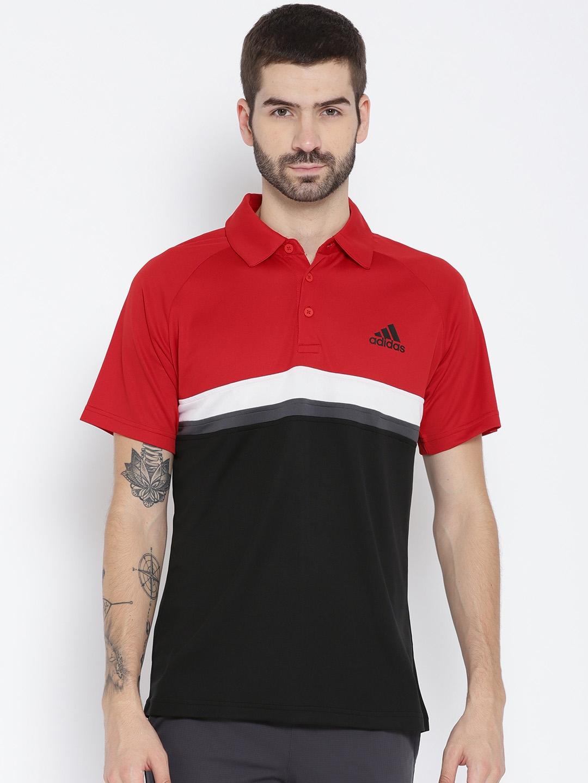 zapatos deportivos productos de calidad diversos estilos Buy Adidas Men Red & Black Colourblocked CLUB Polo Collar T Shirt ...