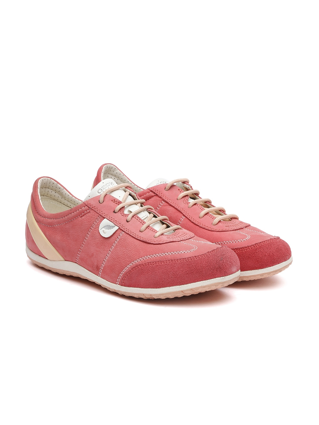 86b6891bcaa Buy Geox Women Coral Pink Leather Sneakers - Casual Shoes for Women ...