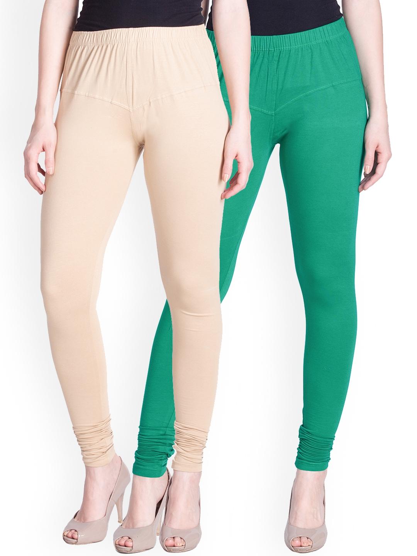 Lux Lyra Women Pack of 2 Beige   Green Churidar Leggings