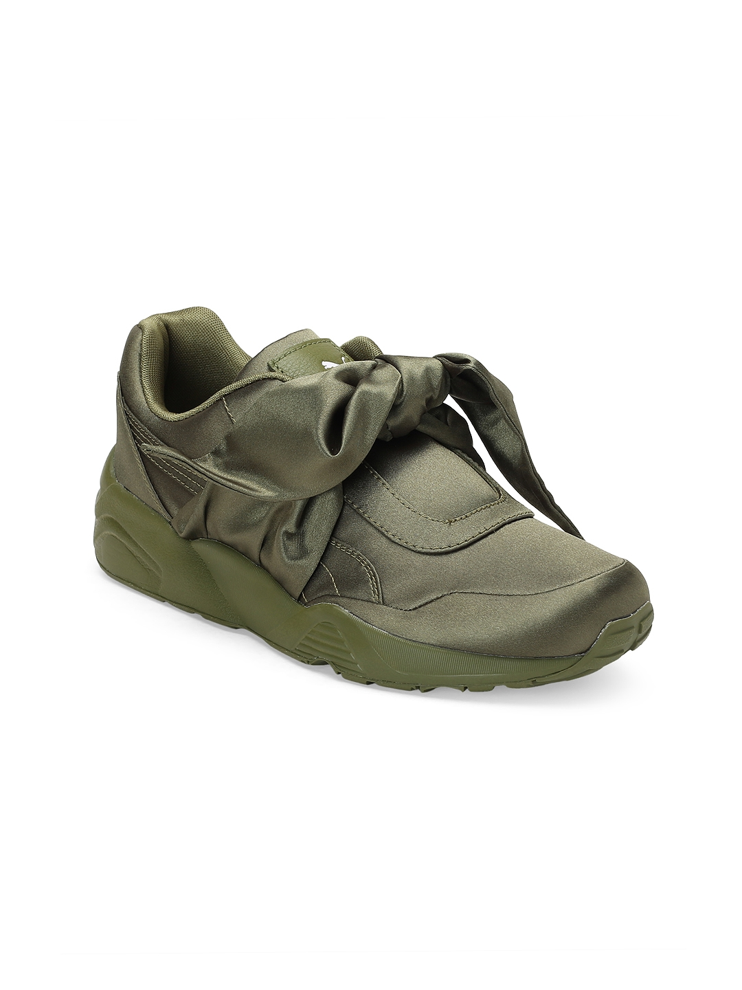 quality design 5ad0b 78de8 Puma by Rihanna Fenty Collection Women Olive Green Bow Sneakers