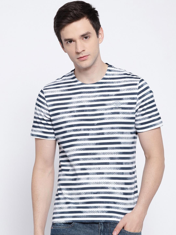 f695325f5e62d Buy Reebok Men White   Navy EF French Striped T Shirt - Tshirts for ...