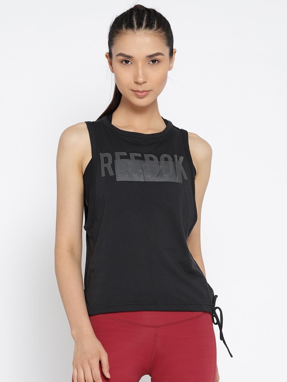 dde79760172d8 Buy Reebok Women Black Tie Tank Printed Top - Tops for Women 6701519 ...