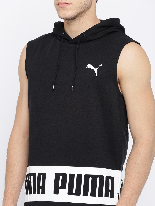 8d4bc0ffd7ba4 Buy Puma Men Black Printed Rebel Hooded Sweatshirt - Sweatshirts for ...