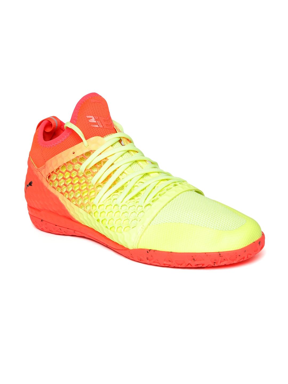 0e2ee3c90 Puma Men Fluorescent Green   Orange 365 IGNITE NETFIT CT Football Shoes