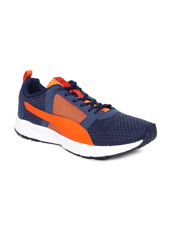 finest selection ac6b7 fa709 Puma Men Navy Blue   Orange Deng IDP Running Shoes