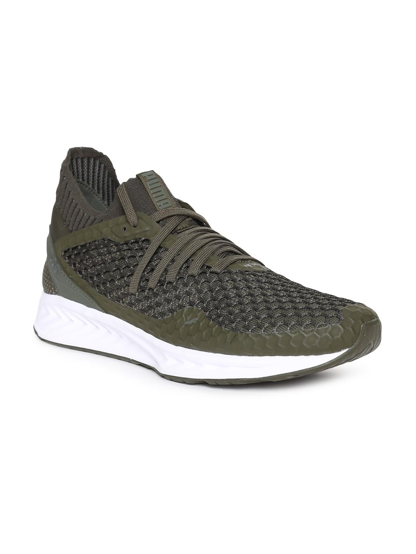 Buy Puma Men Olive Green IGNITE NETFIT Sports Running Shoes - Sports ... 2e0db724b