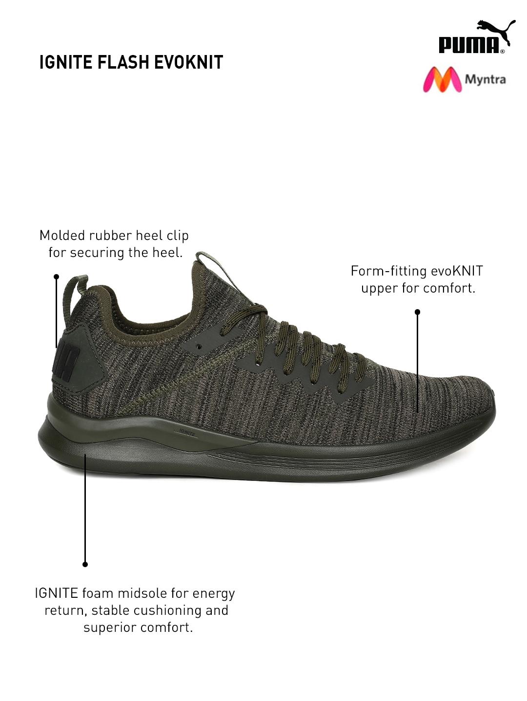 47414827a96 Buy Puma Men Olive Green IGNITE Flash EvoKNIT Running Shoes - Sports ...
