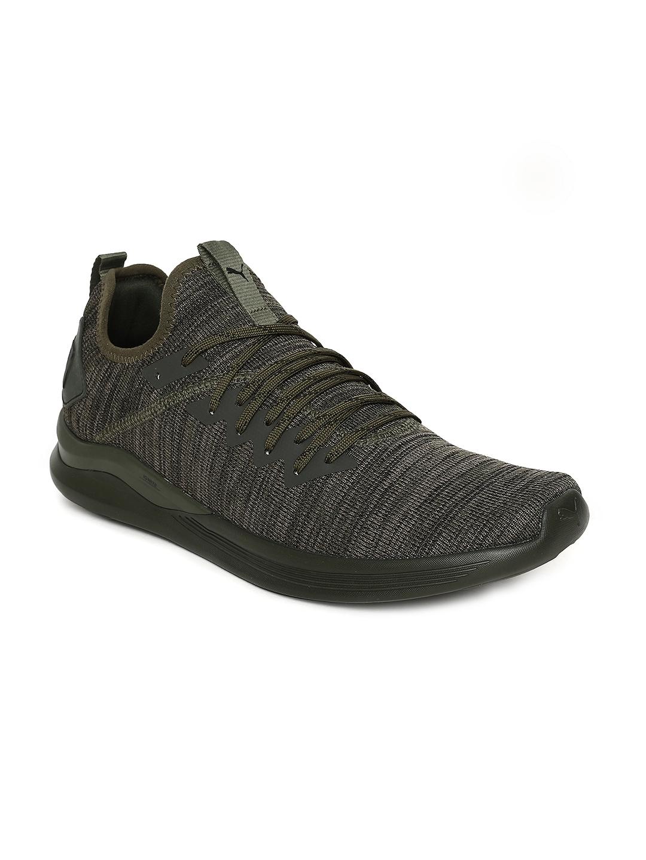 133fdee4f82 Buy Puma Men Olive Green IGNITE Flash EvoKNIT Running Shoes - Sports ...