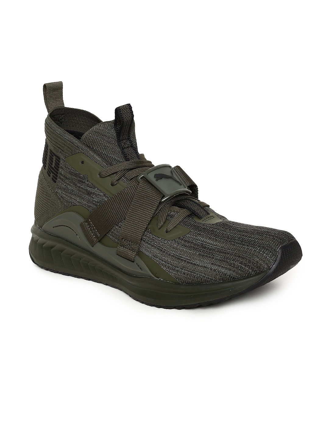 2f8fa451c6b652 Buy Puma Men Olive Green IGNITE EvoKNIT 2 Mid Top Running Shoes ...