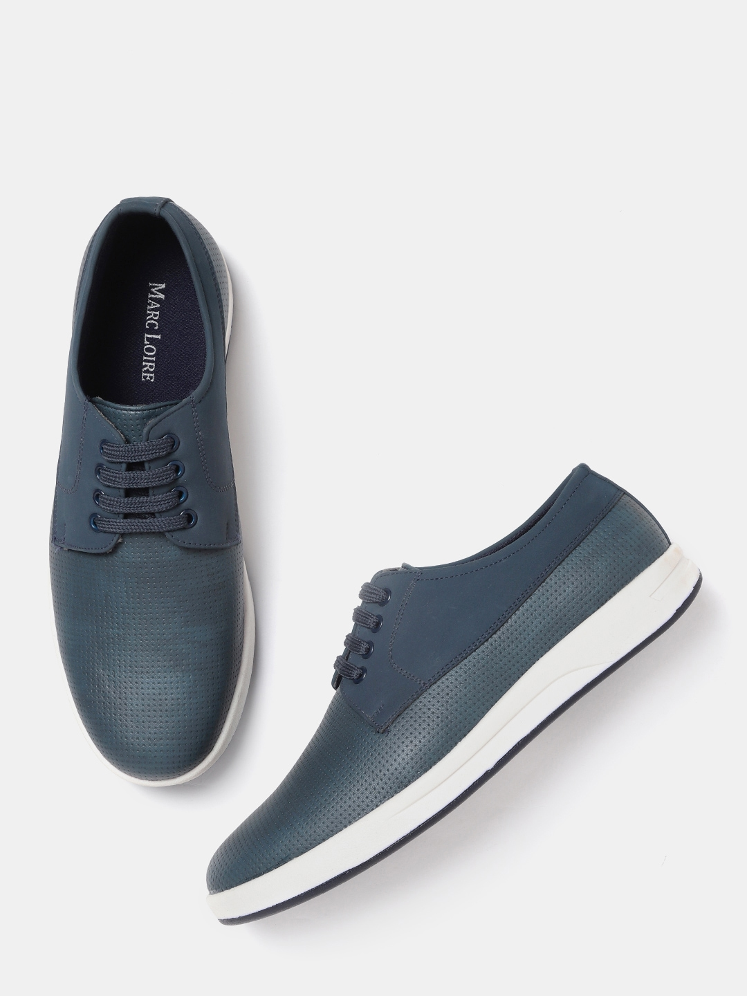 dba1fa821b3b Buy Marc Loire Men Navy Blue Textured Sneakers - Casual Shoes for ...