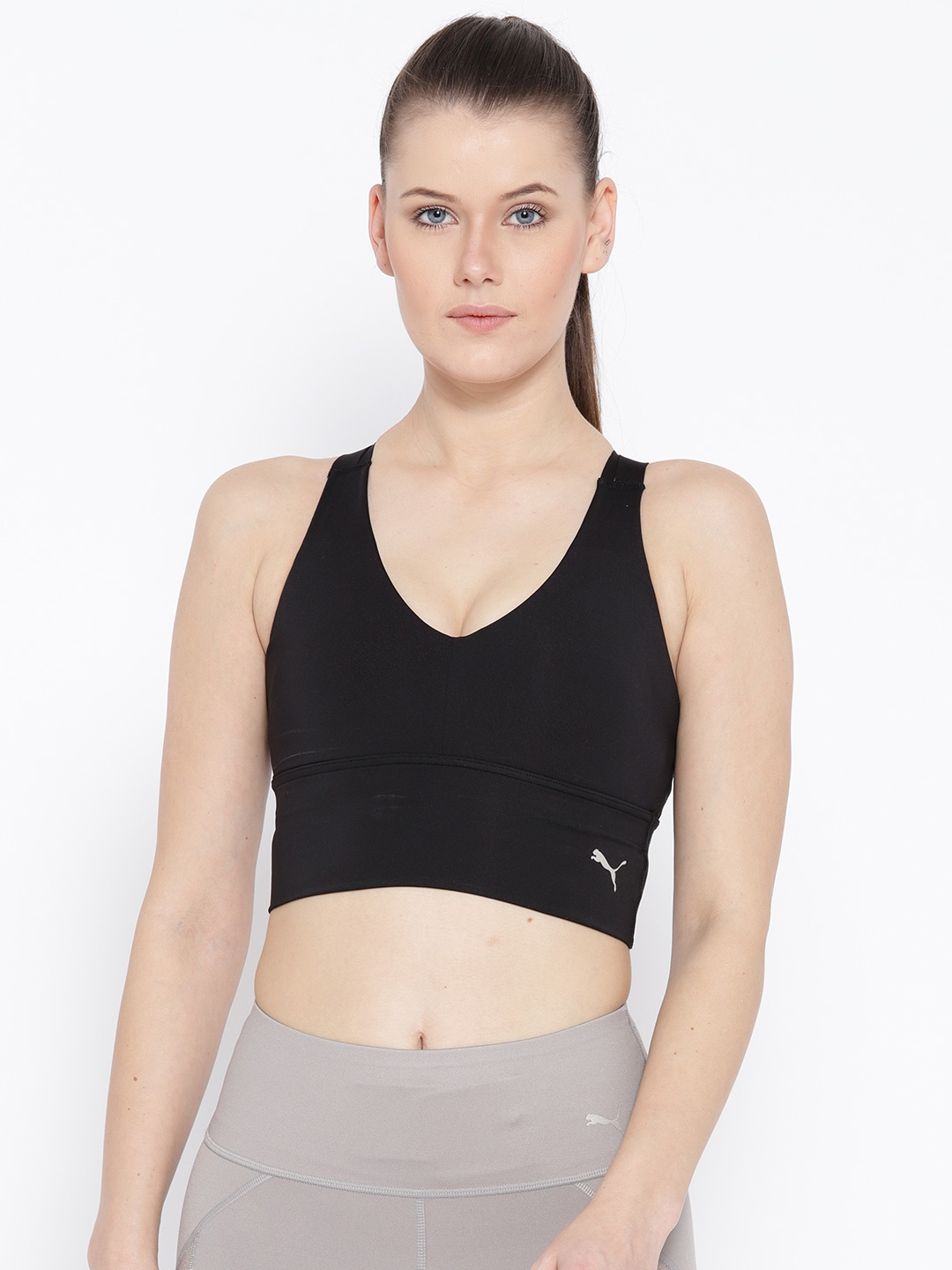 2d71da28 Puma Black Solid Non-Padded En Pointe Crop Sports Bra 51639901