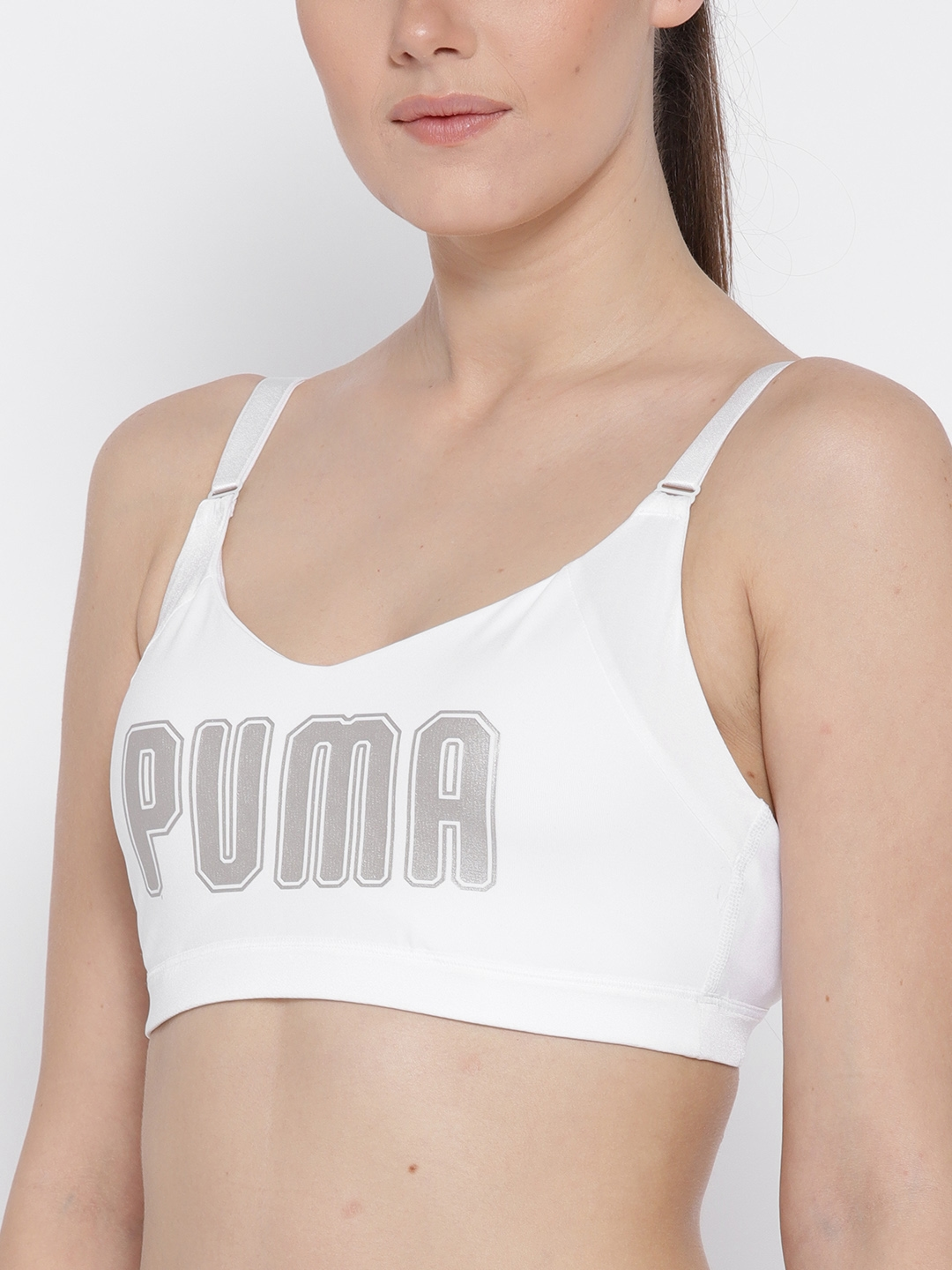 a28d6a98fd158 Puma White Printed Lightly Padded En Pointe Logo Bra Sports Bra 51647502
