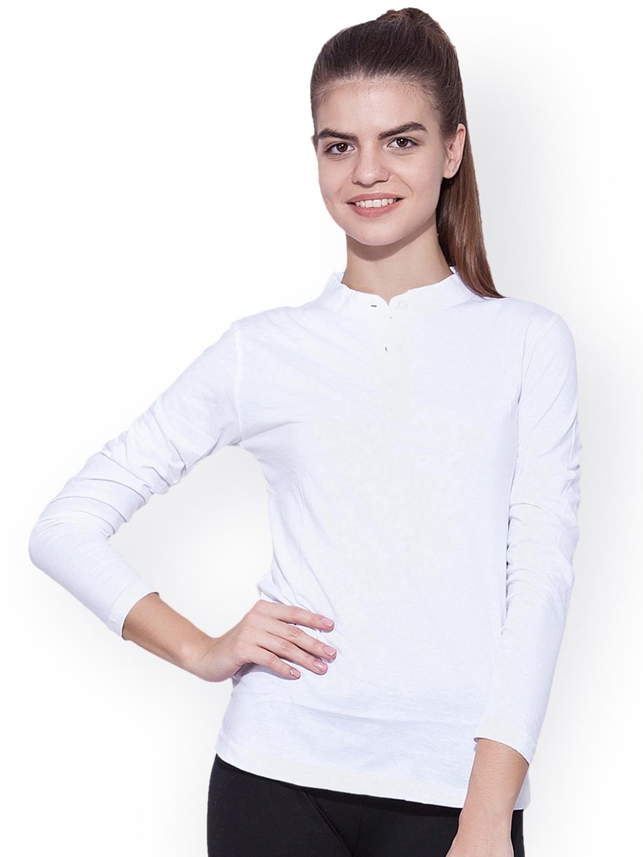 5774d8b8c26394 Buy Appulse Women White Solid Mandarin Collar T Shirt - Tshirts for ...