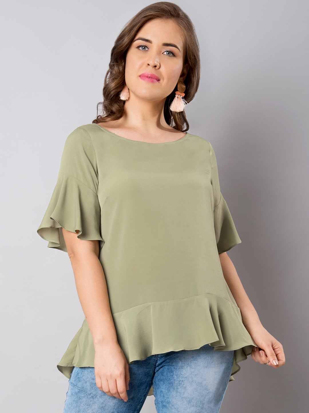 b4757c0bb9d60a Buy FabAlley Curve Women Olive Green Solid Peplum Top - Tops for ...